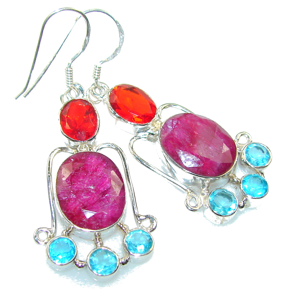 Fantastic!! Pink Ruby Sterling Silver earrings