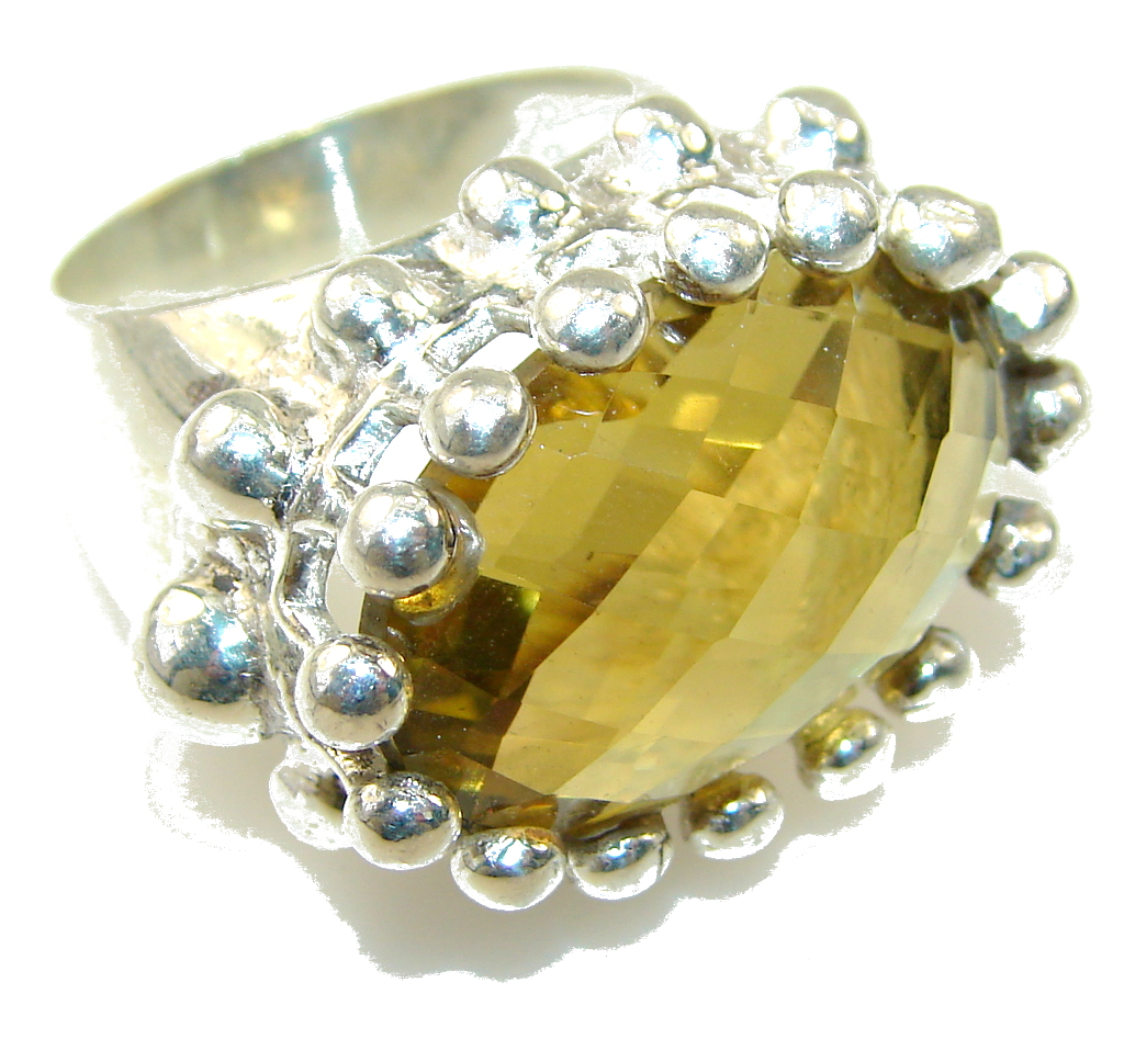 Big! Fantastic Yellow Citrine Quartz Sterling Silver Ring s. 8