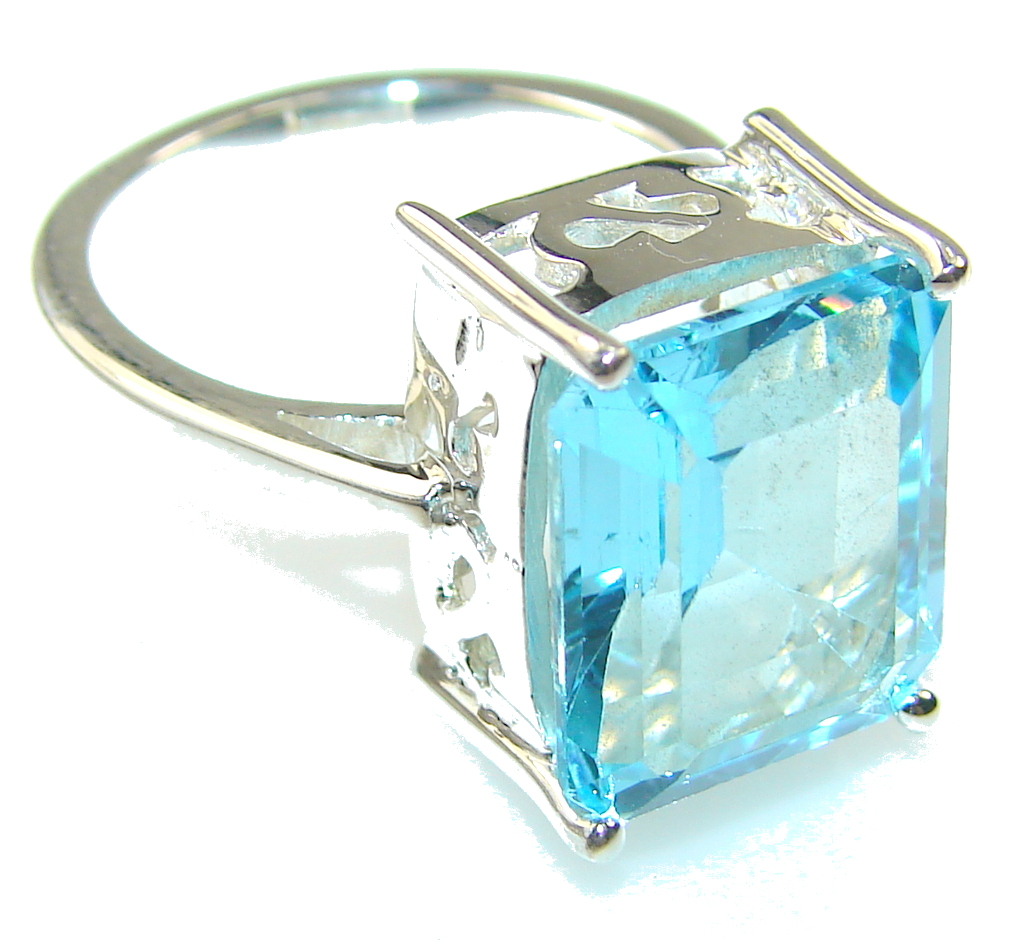 Natural Blue Topaz Sterling Silver Ring s. 7 1/4