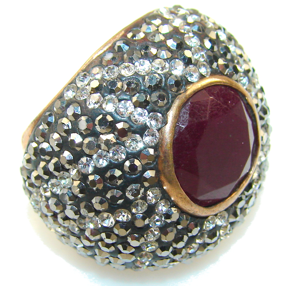 Amazing Design!! Red Ruby Sterling Silver ring s. 5 1/4