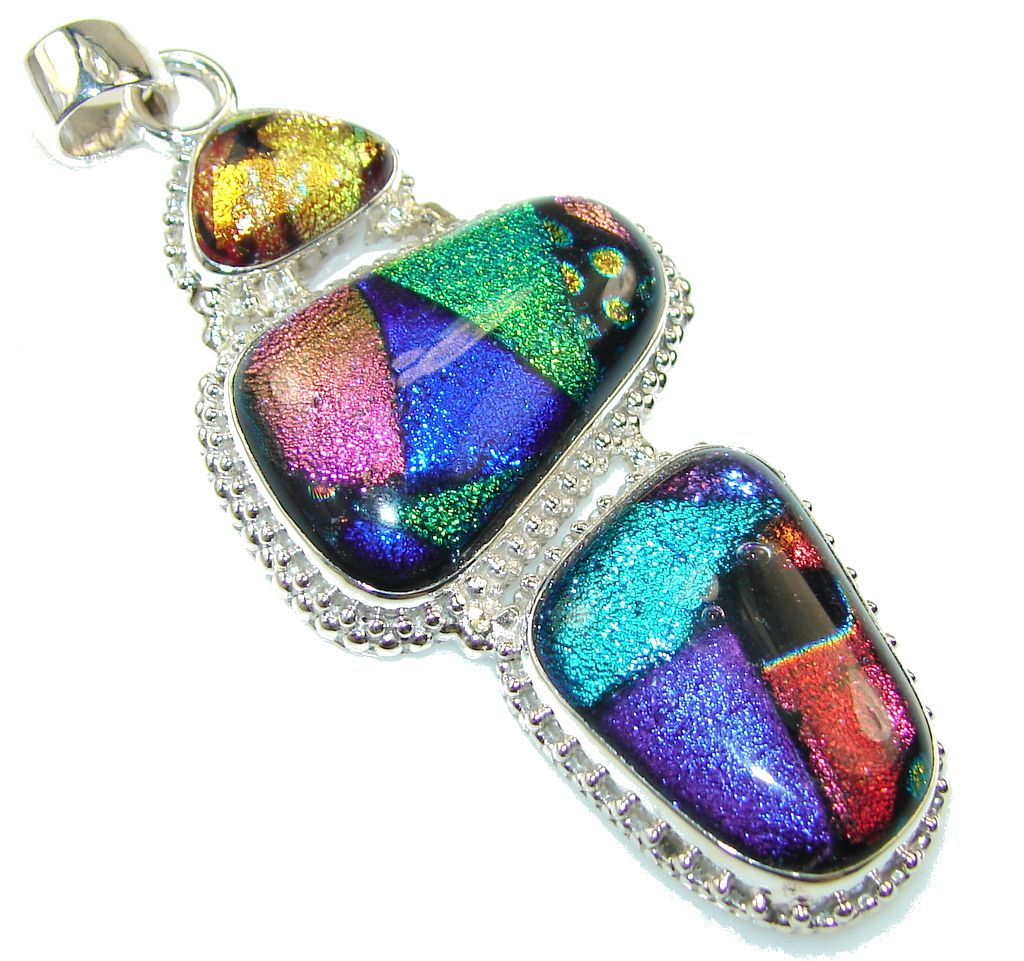 Multicolor Dichroic Glass Sterling  Silver pendant