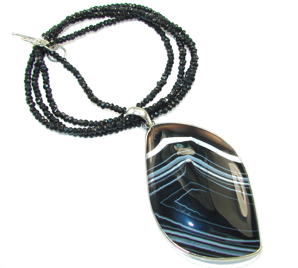 Big!Amazing Design!! Black Onyx Sterling Silver necklace