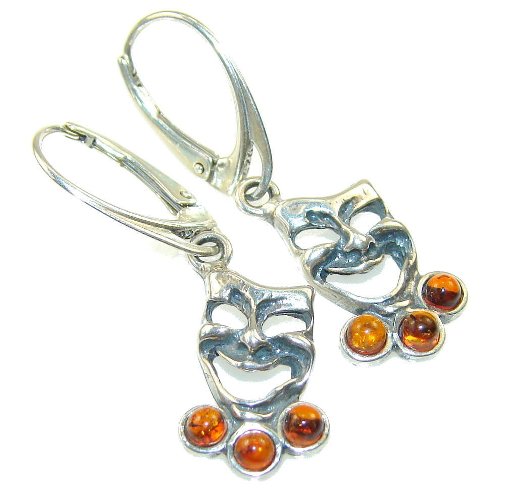 Stylish Polish Amber Sterling Silver Earrings