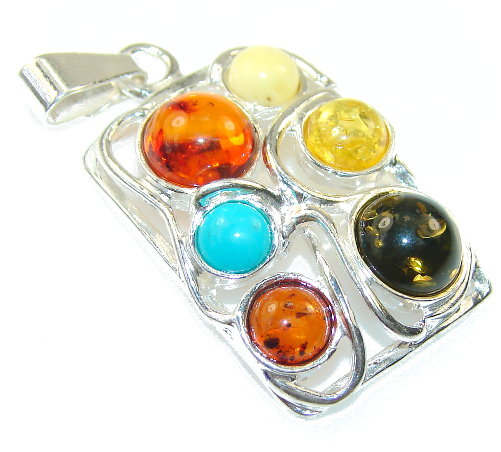 Amazing Multicolor Polish Amber Sterling Silver Pendant