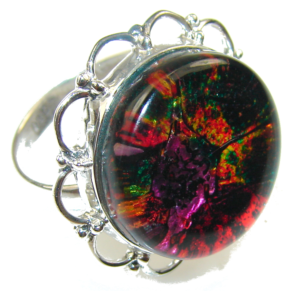 Rainbow Design! Dichroic Glass Sterling Silver ring s. 8