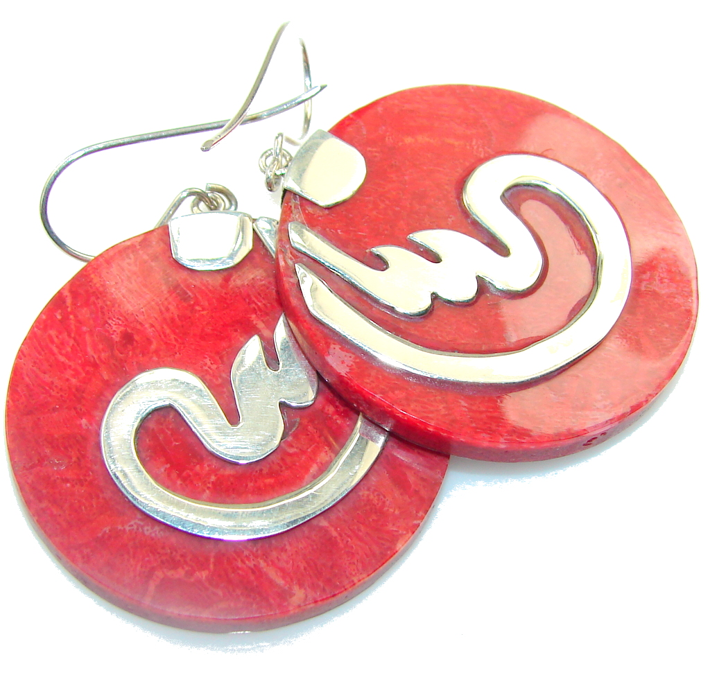 Big!! True Love! Fossilized Coral Sterling Silver earrings