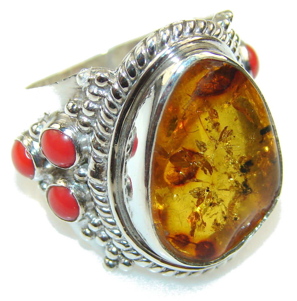 Amazing Design!! Amber Sterling Silver Ring s. 9