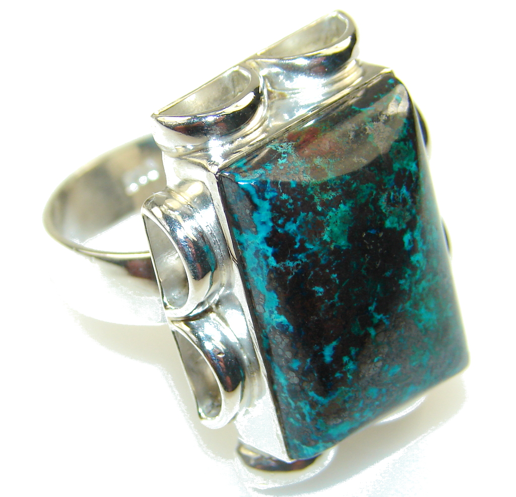 Fantastic Blue Chrysocolla Sterling Silver ring s. 9 1/2