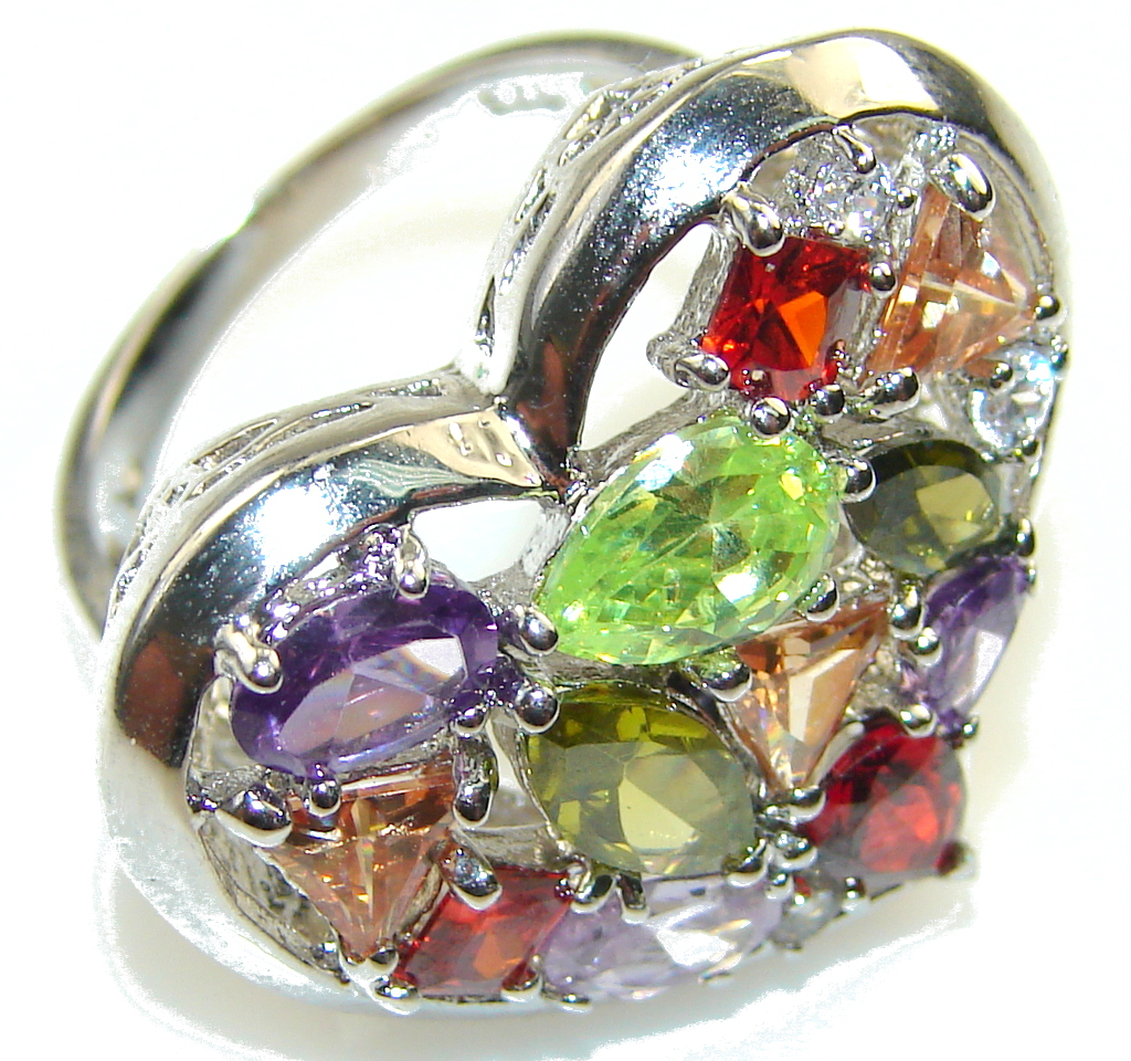 Excellent Design!! Multicolor Quartz Sterling Silver Ring s. 6 1/4
