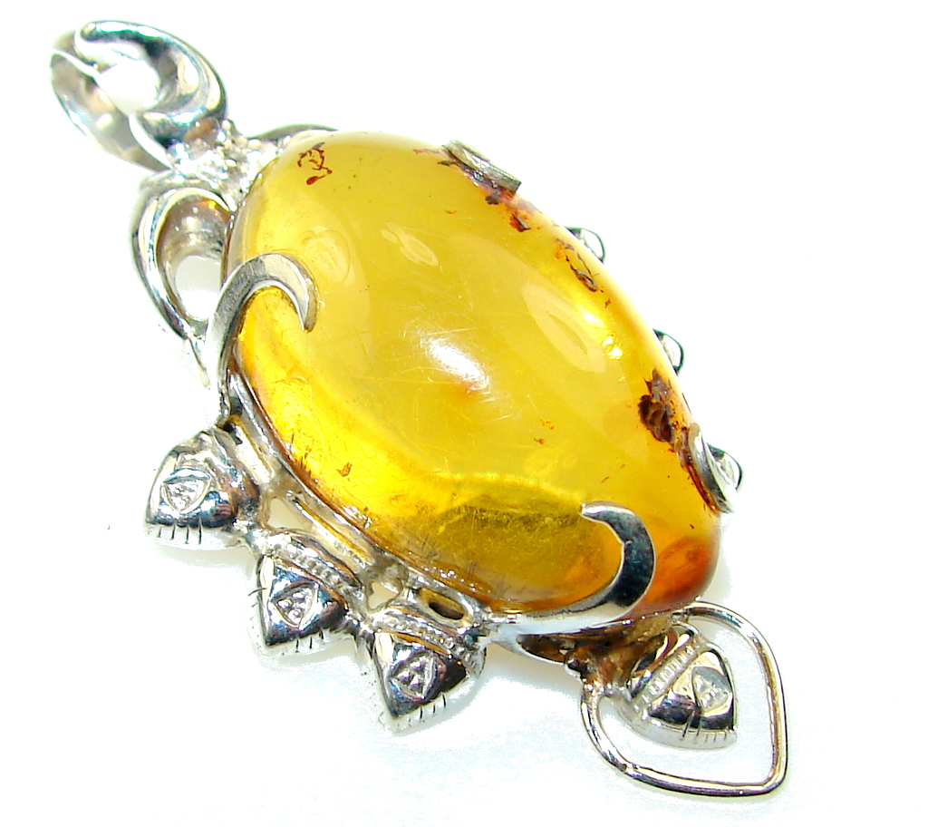 Beautiful Design Of Amber Sterling Silver Pendant