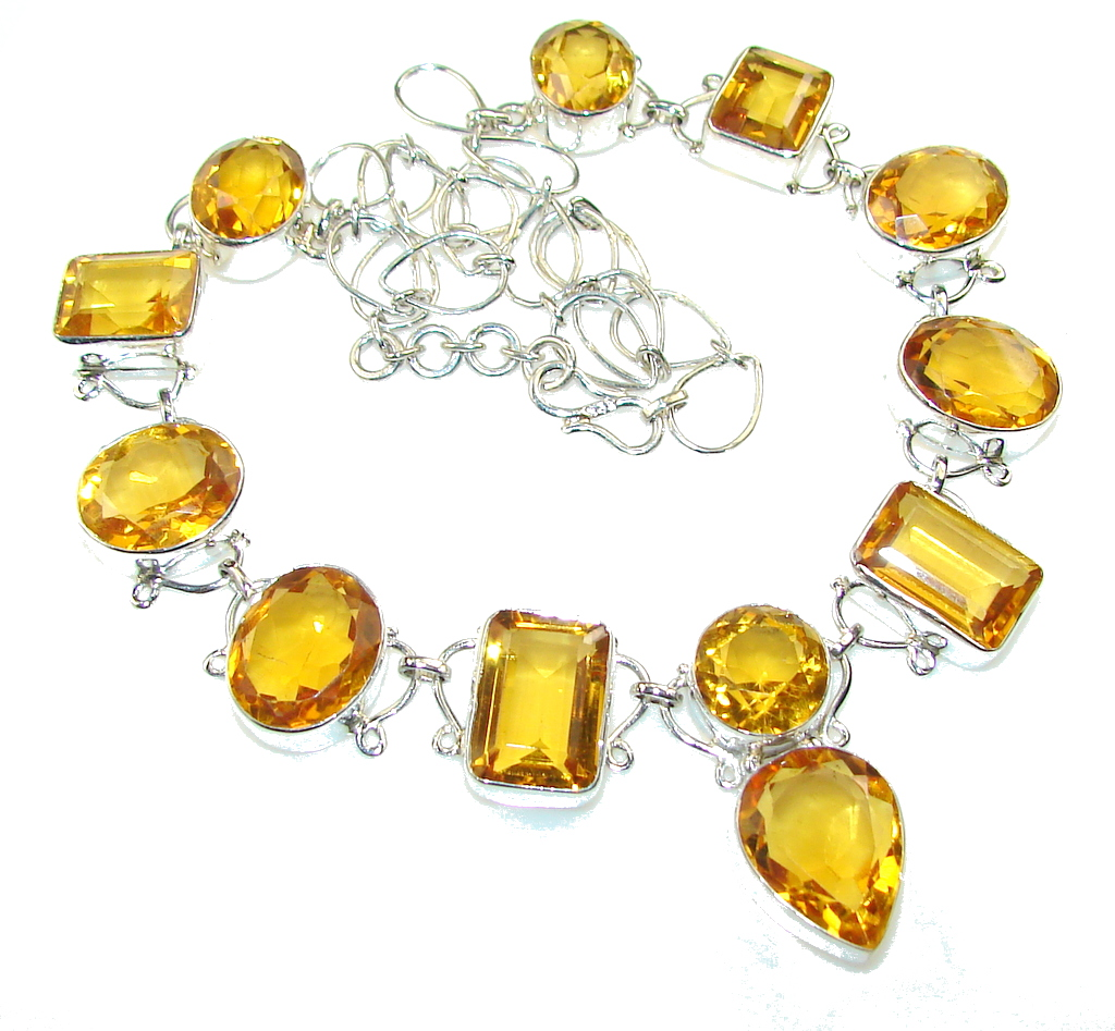 Amazing Golden Topaz Quartz Sterling Silver necklace