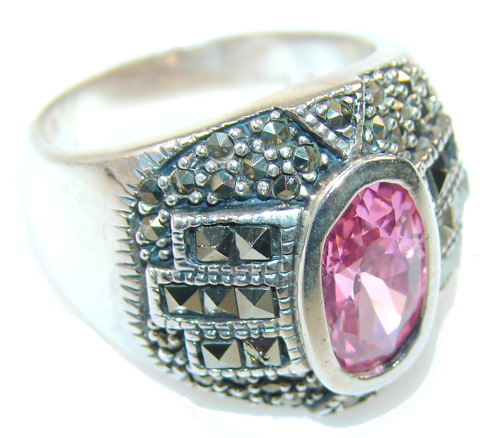 marcassite.com view the photo of  Fabulous Pink Topaz Sterling Silver ring; size 8