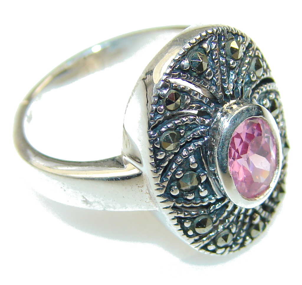 marcassite.com view the photo of  Delicate Pink Topaz Sterling Silver ring; size 7