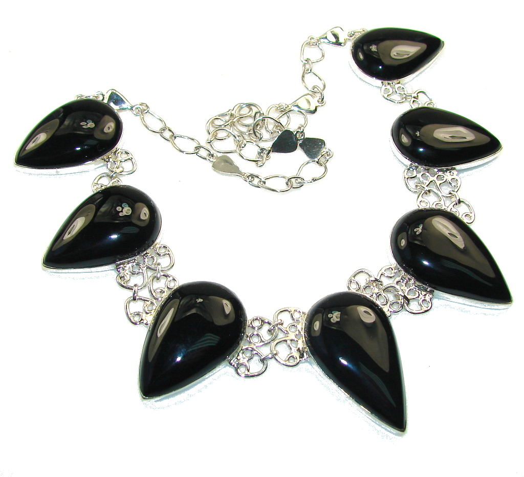 Black Whisper!! Black Onyx Sterling Silver necklace