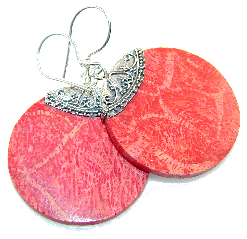 Perfect Fossilized Coral Sterling Silver earrings