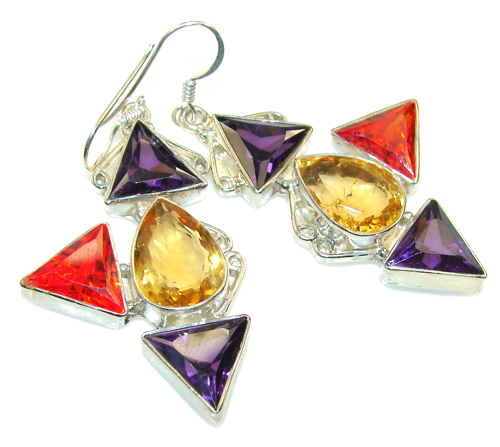Aura Of Beauty!! Multicolor Quartz Sterling Silver earrings