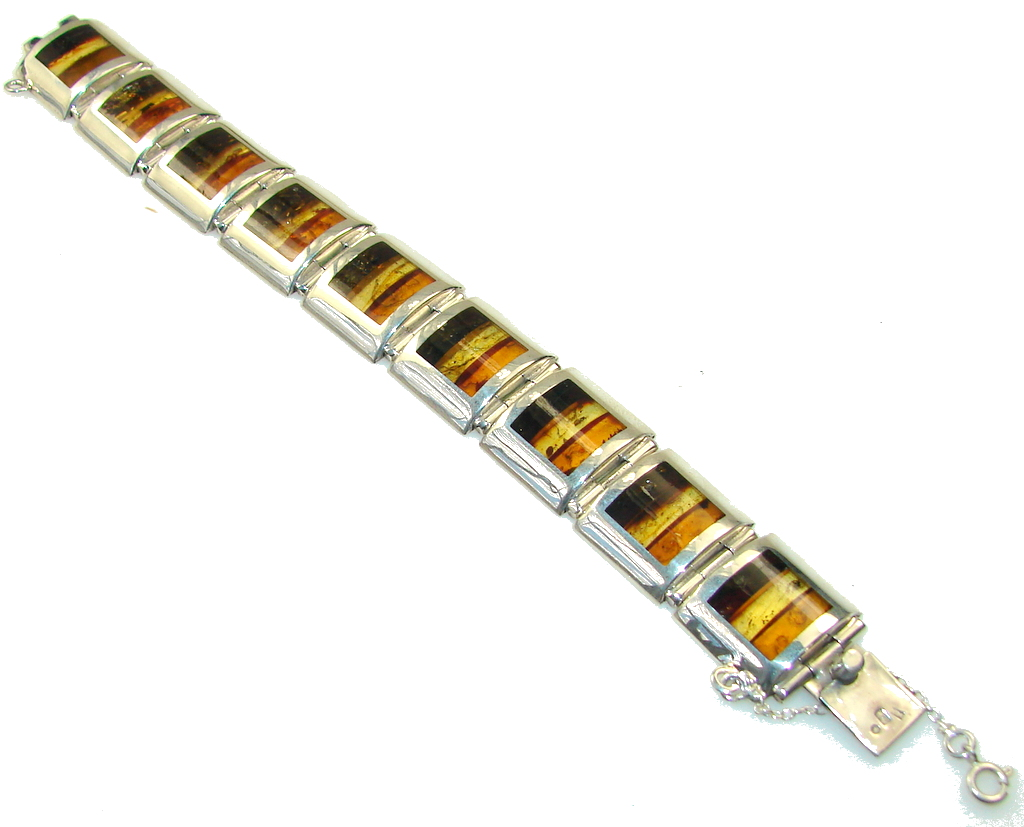 Excellent Quality Mosaic Baltic Amber Sterling Silver Bracelet