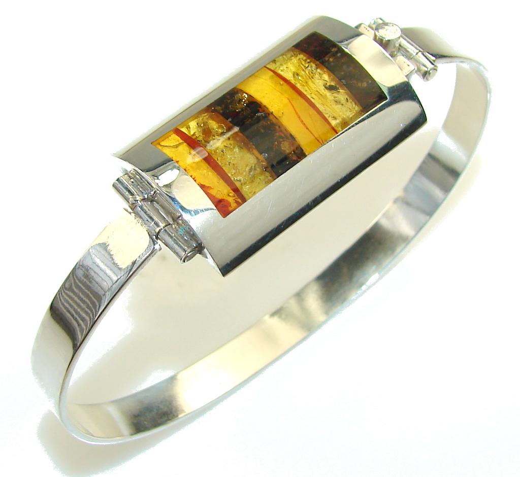 Marvelous Polish Amber Sterling Silver Cuff/Bracelet
