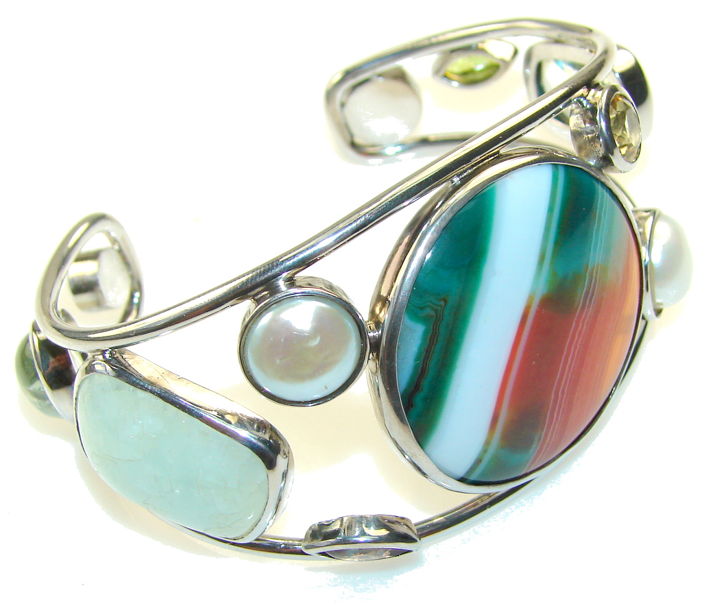 Excellent Genuine Botswana Agate Sterling Silver Bracelet / Cuff