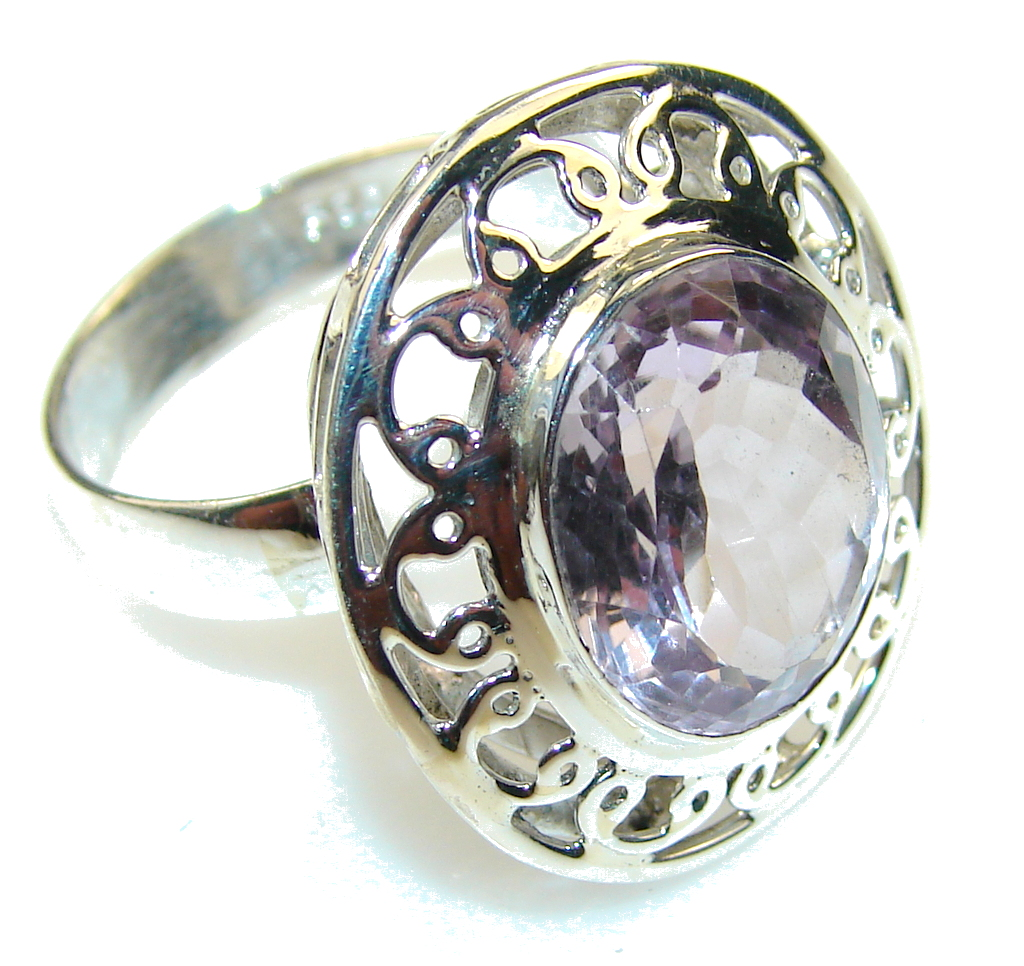 Sweet Light Pink Amethyst Sterling Silver ring size 9