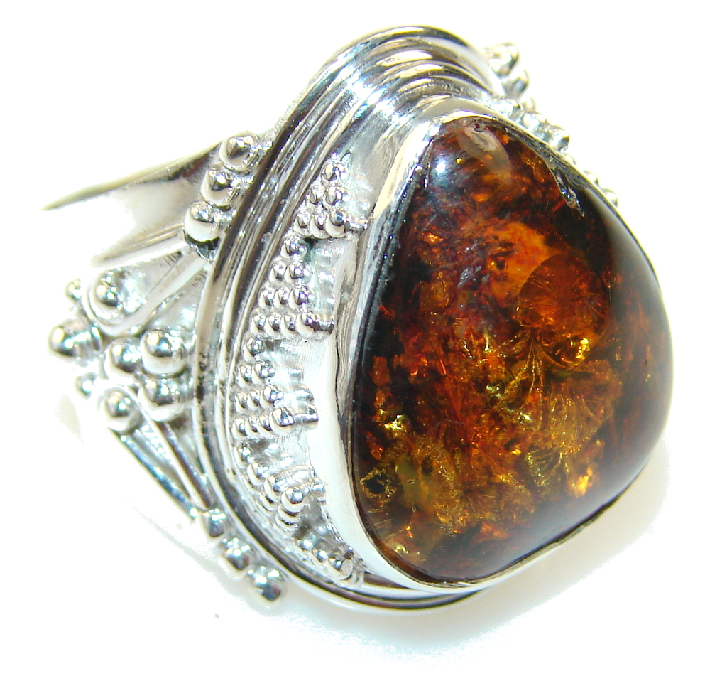 Awesome Brown Polish Amber Sterling Silver Ring s. 8 1/2