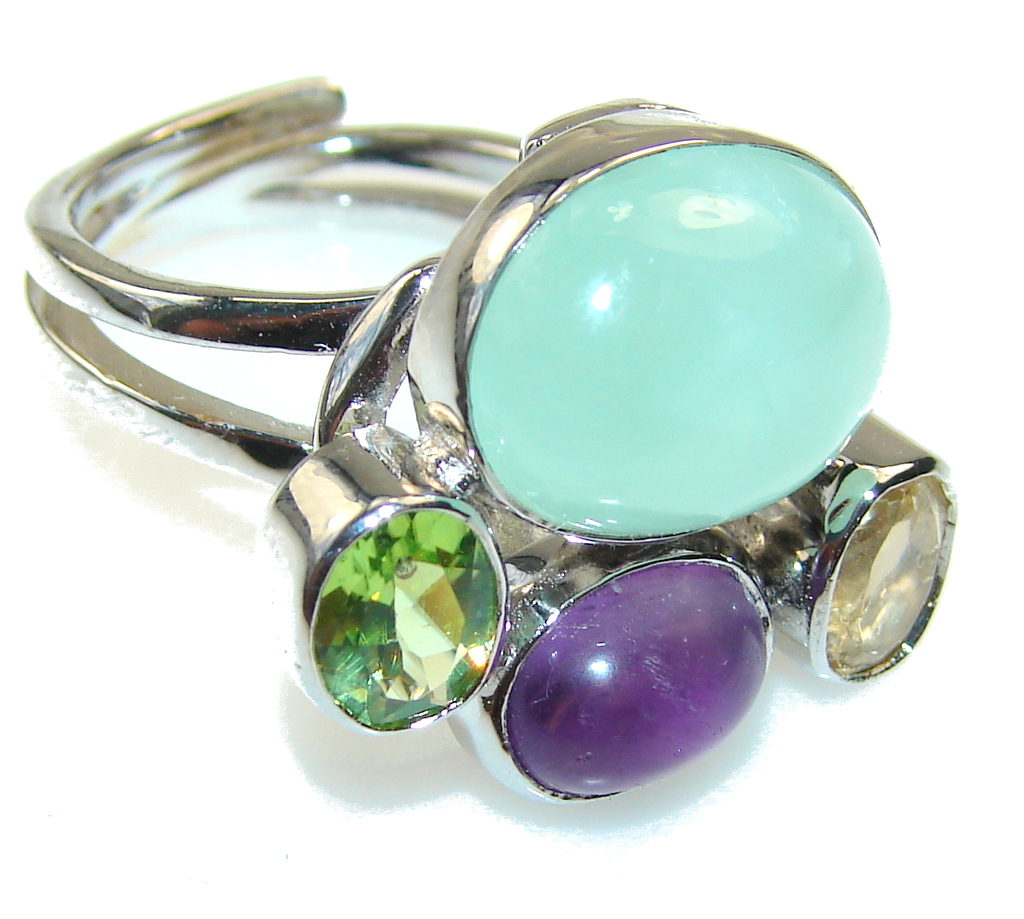New Green-Blue Aquamarine Sterling Silver Ring s. 8 - Adjustable