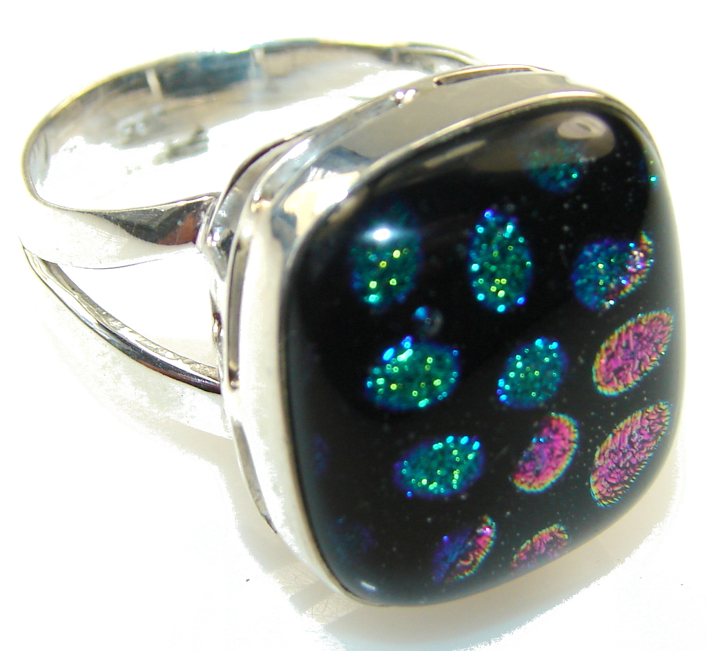 Amazing Mexican Dichroic Glass Sterling Silver ring s. 11