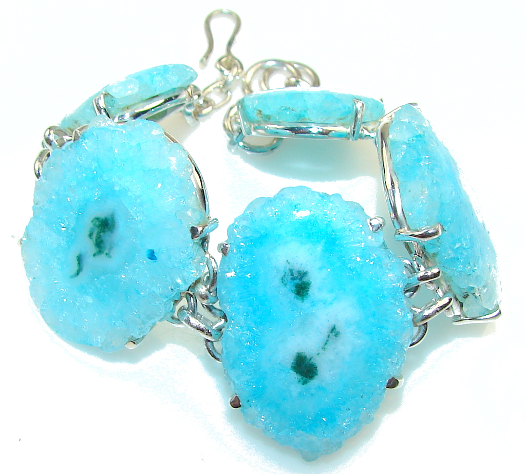 Fantastic Blue Agate Druzy Sterling Silver Bracelet