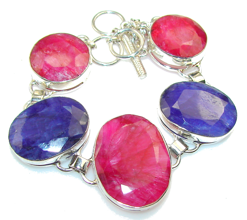 Natural Beauty!! Pink Ruby Sterling Silver Bracelet