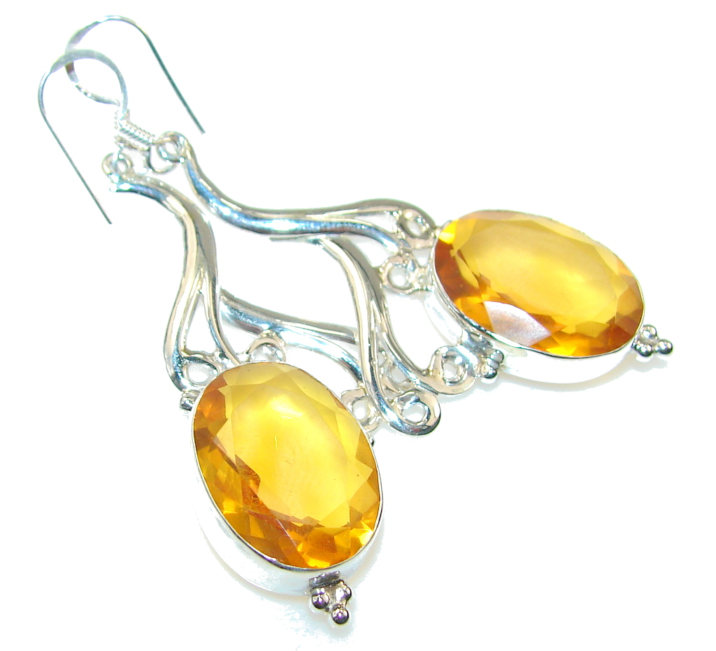 Amazing Golden Topaz Quartz Sterling Silver earrings