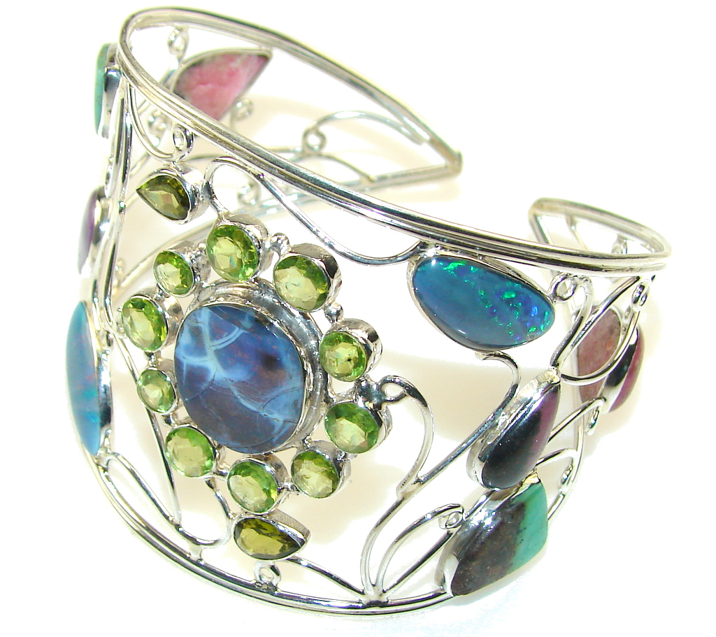 Love Attraction! Multigem Sterling Silver Bracelet / Cuff 75228