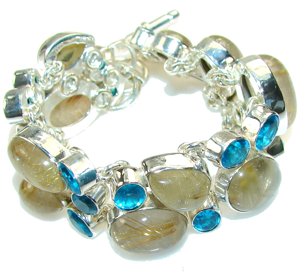 Perfection!! Golden Rutilated Quartz Sterling Silver Bracelet