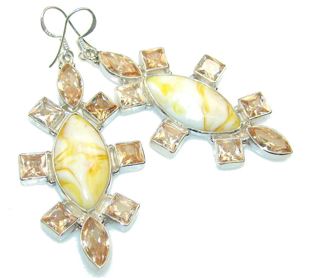 Beautiful Yellow Agate Sterling Silver earrings