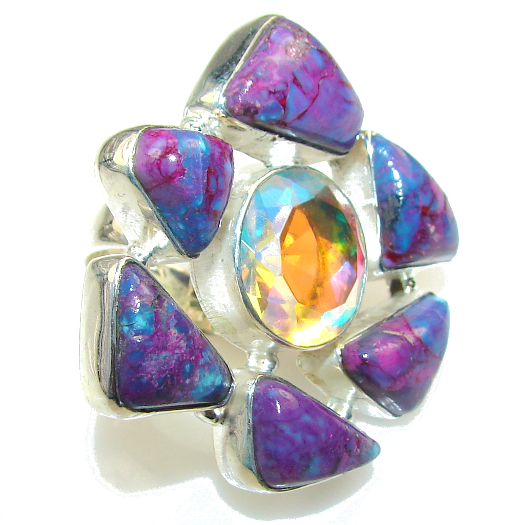 Fantastic Dichroic Glass Sterling Silver ring s. 6