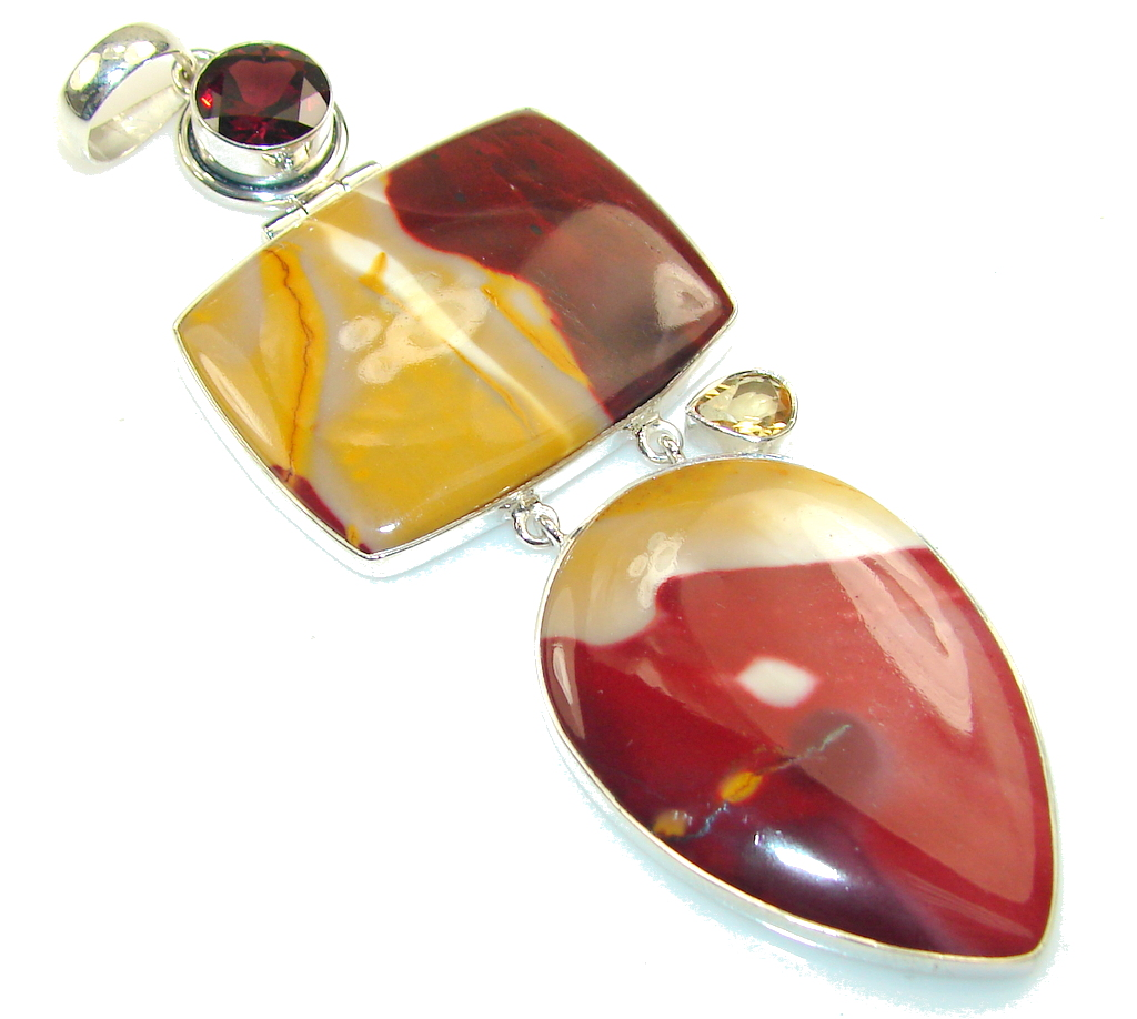 Large!! Amazing Australian Mookaite Sterling Silver Pendant