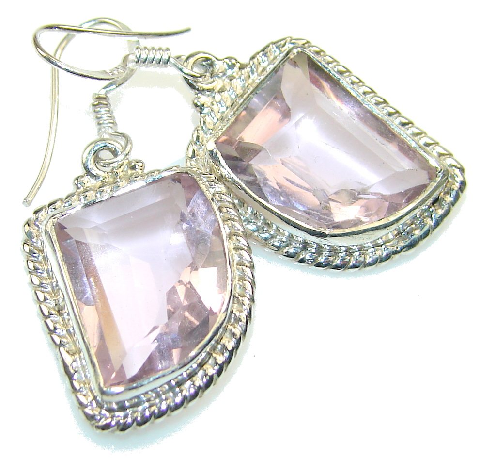 Awesome Pink Topaz Sterling Silver earrings