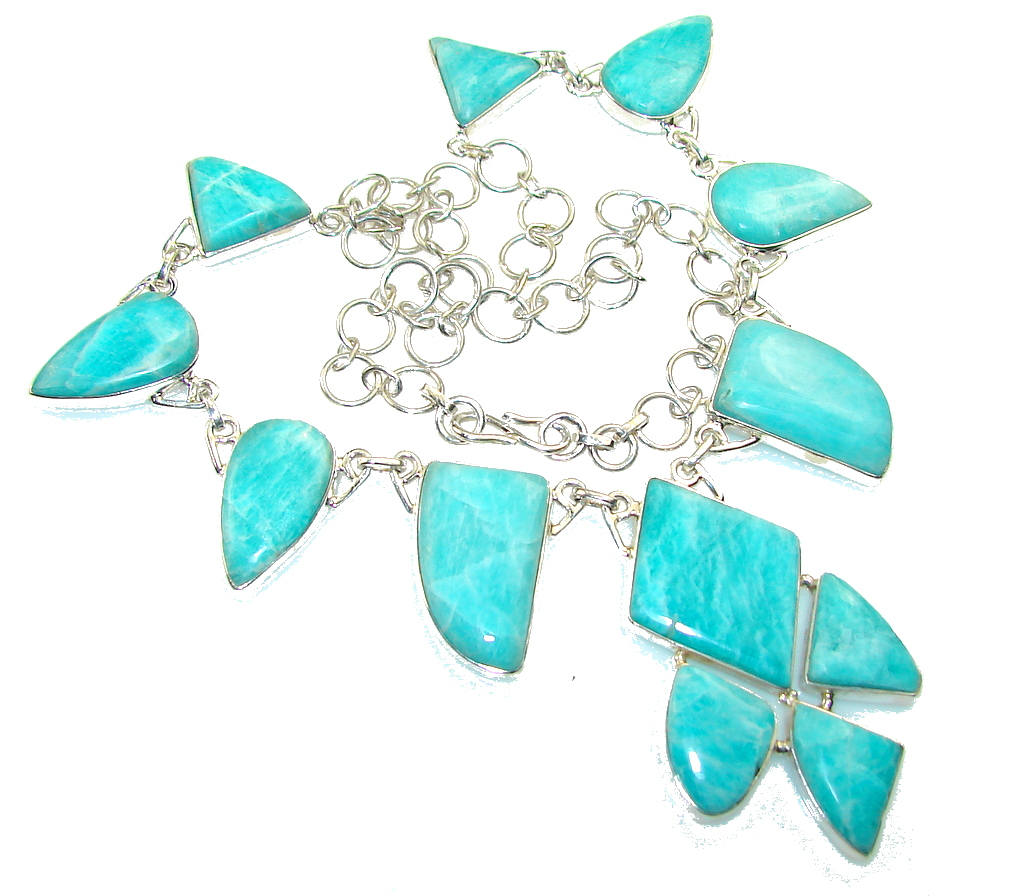 Blue Ivy!! Amazonite Sterling Silver necklace