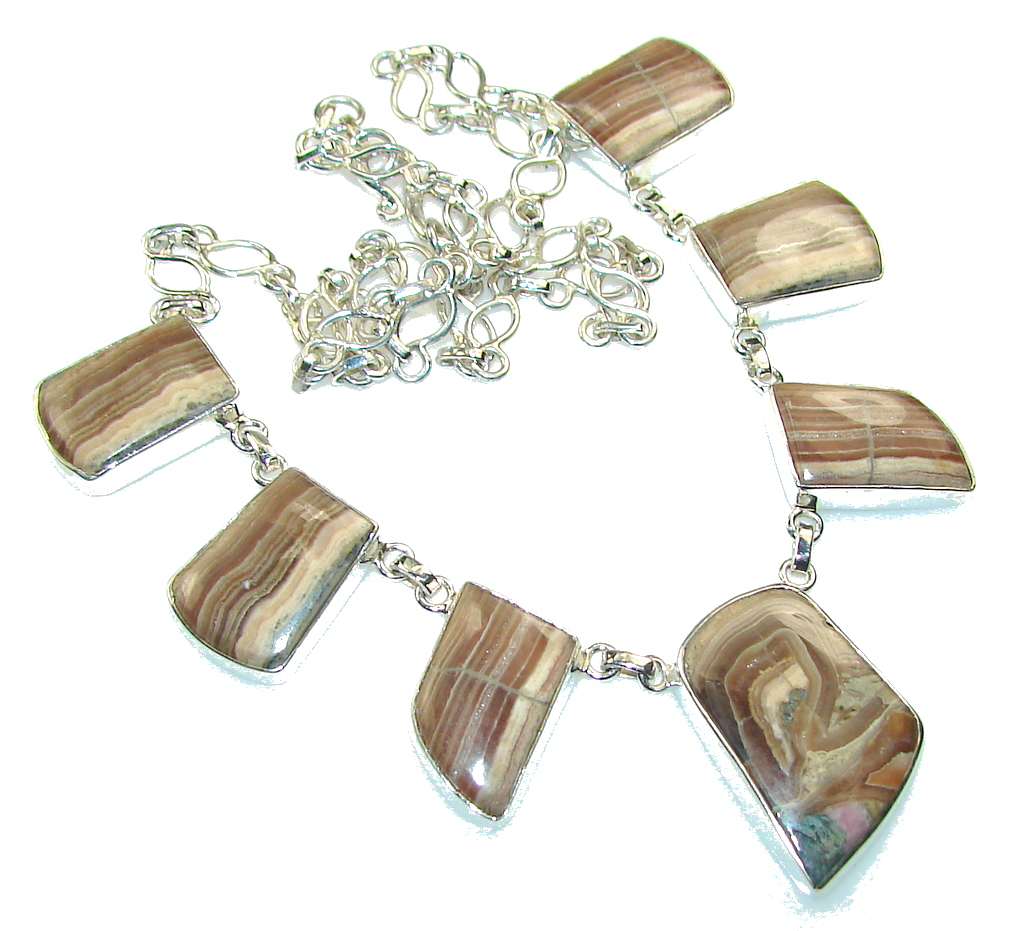 Fabulous Brown Rhodochrosite Sterling Silver necklace