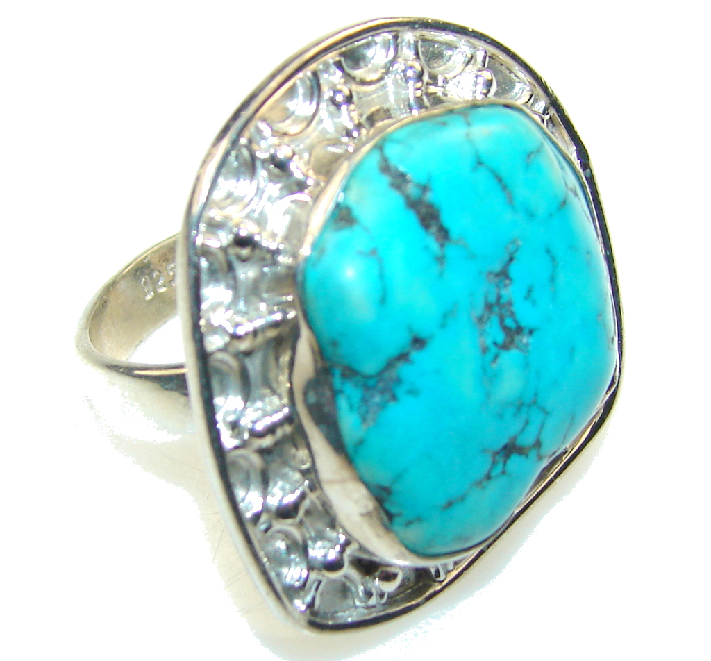 Classy Blue Turquoise Sterling Silver Ring s. 9 1/4