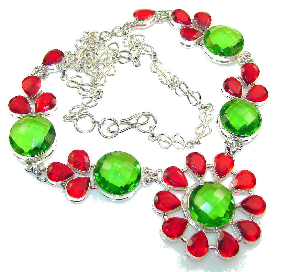 Excellent Green Quartz Sterling Silver Necklace
