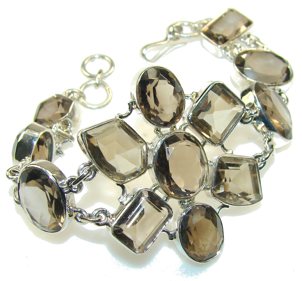 Fantastic Light Smoky Topaz Sterling Silver Bracelet