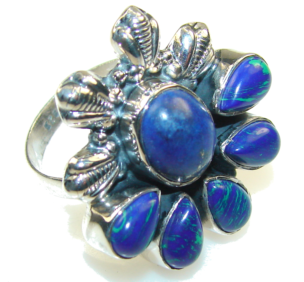 New Design!! Amazing Azurite Sterling Silver Ring