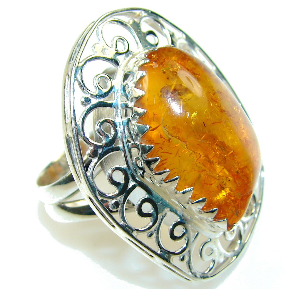 Excellent Brown Amber Sterling Silver Ring s. 10 1/2