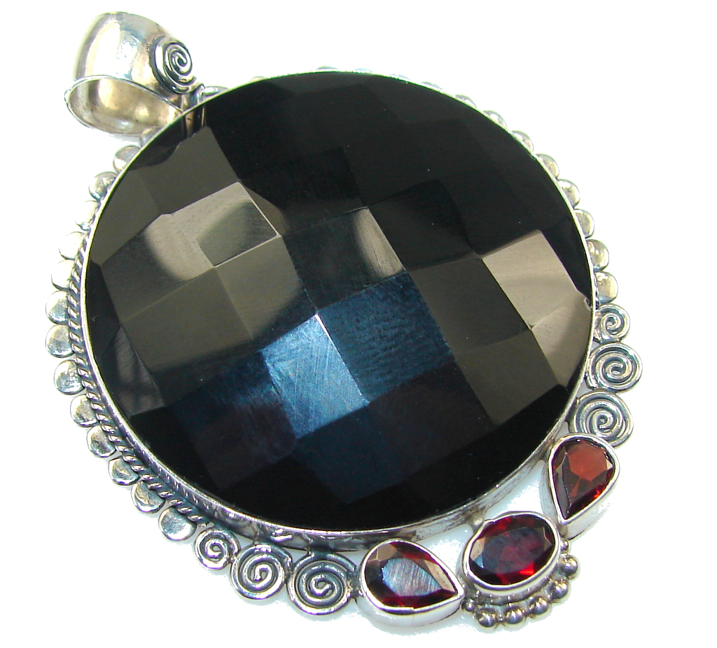 Beautiful Black Onyx Sterling Silver Pendant