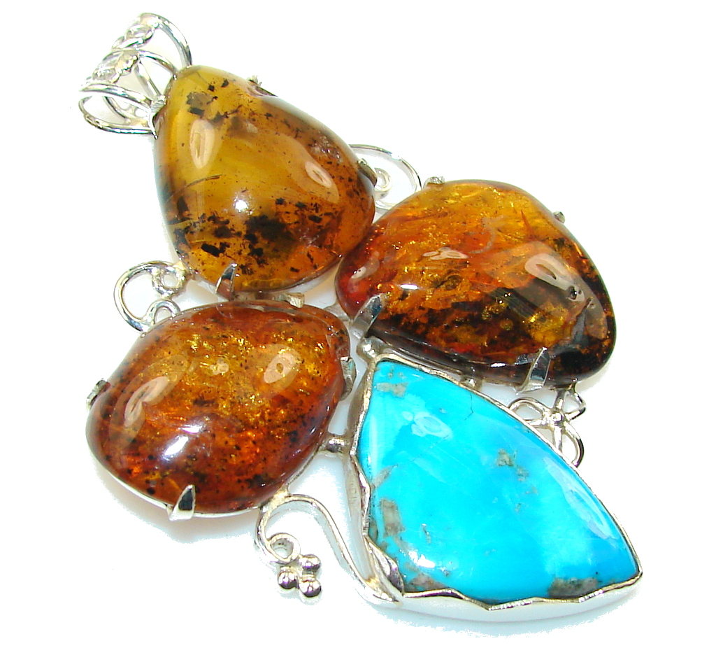 Big!! Love Attraction Polish Amber Sterling Silver Pendant