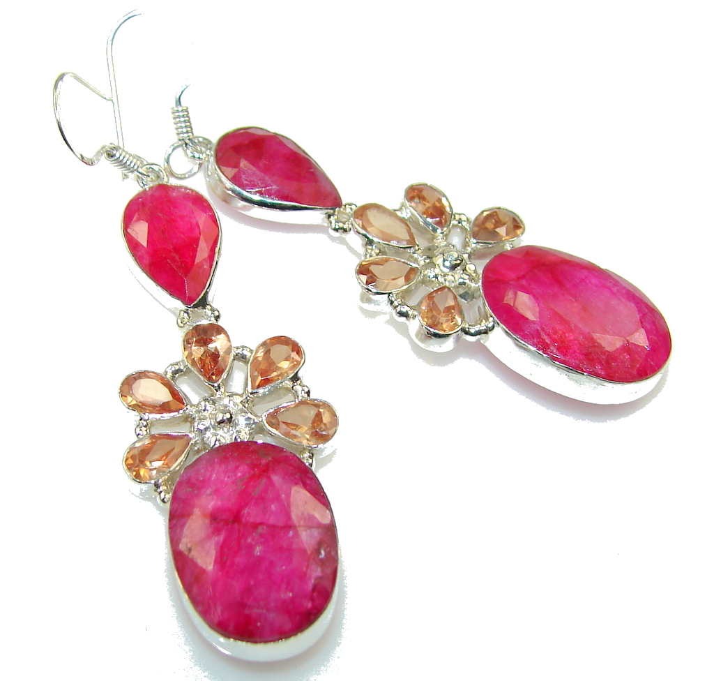 Precious Pink Ruby Sterling Silver earrings