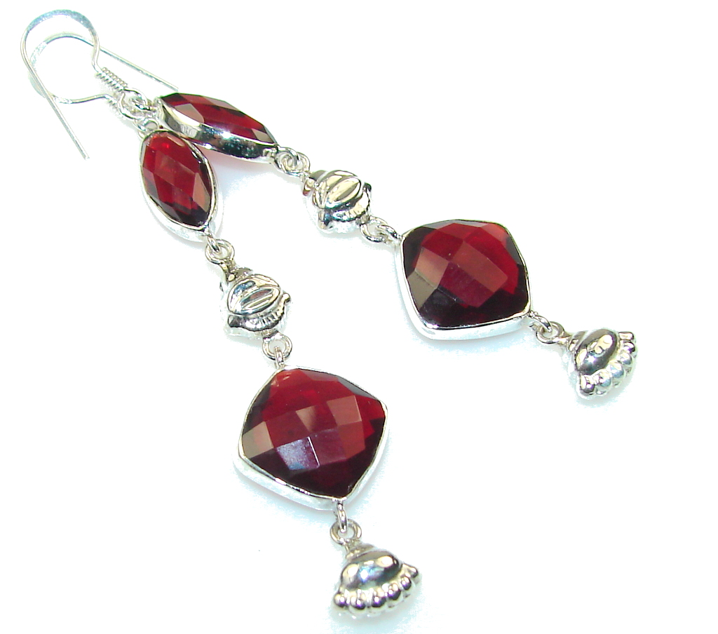 Amazing Love!! Created Red Garnet Sterling Silver earrings