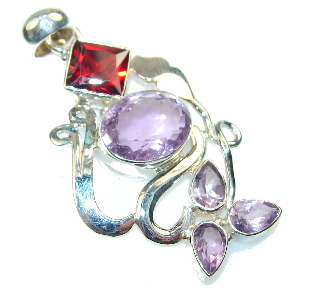 Amazing Purple Amethyst Sterling Silver Pendant