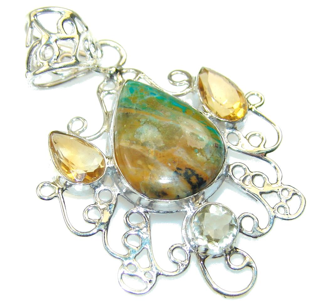 Amazing Peruvian Opal Sterling Silver Pendant