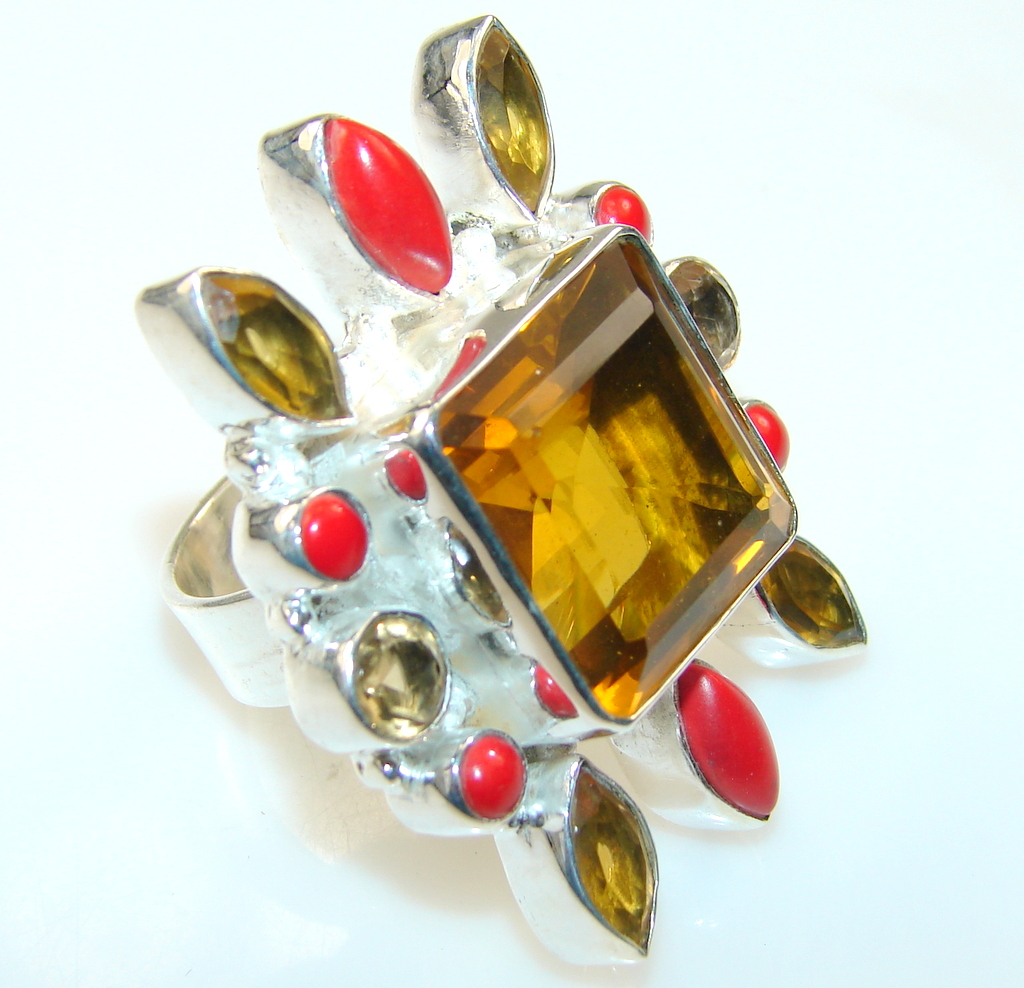 Big Yellow Citrine Quartz Silver Plated ring s. 9 1/4